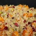 Closeup of Roasted Winter Squash with quinoa and pomegranate