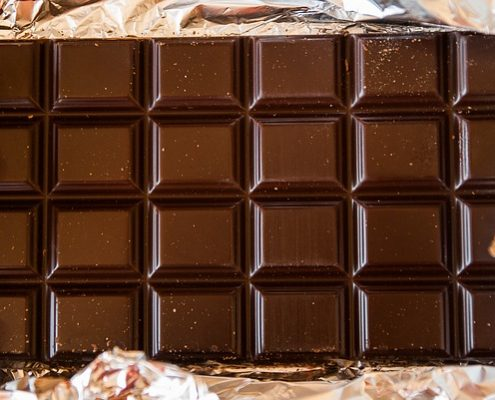 Closeup of a dark chocolate baking bar