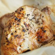 closeup of rosemary, lemon zest and lavender chicken breasts