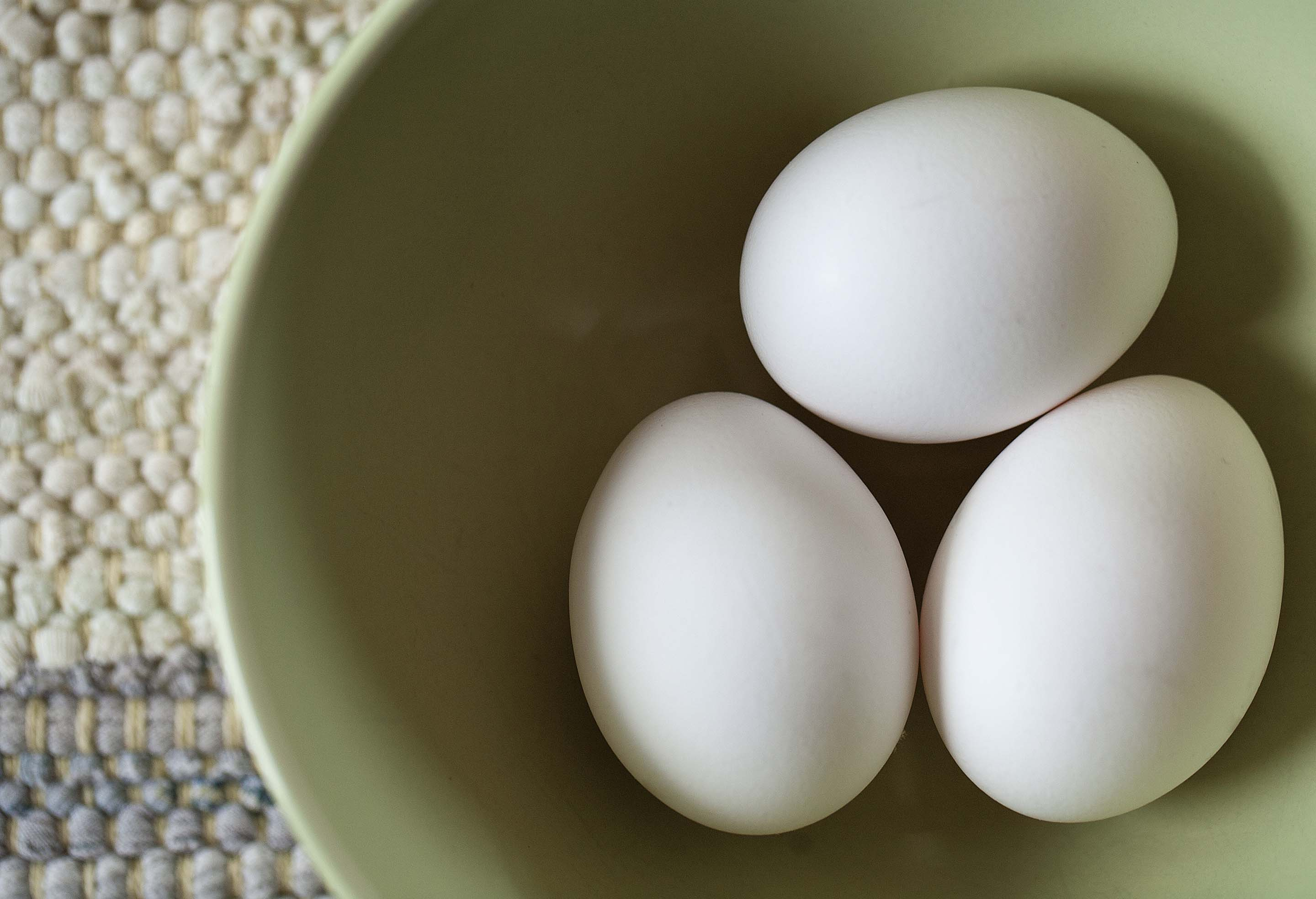 a bowl with three white eggs as an illustration of egg nutrition