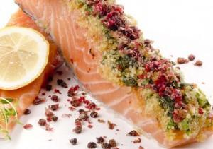 salmon with juniper and gin sauce