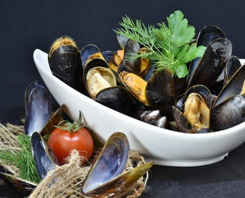 Tequila Mussels in a white bowl with a tomato on front and some green herbs behind the mussels in the dish