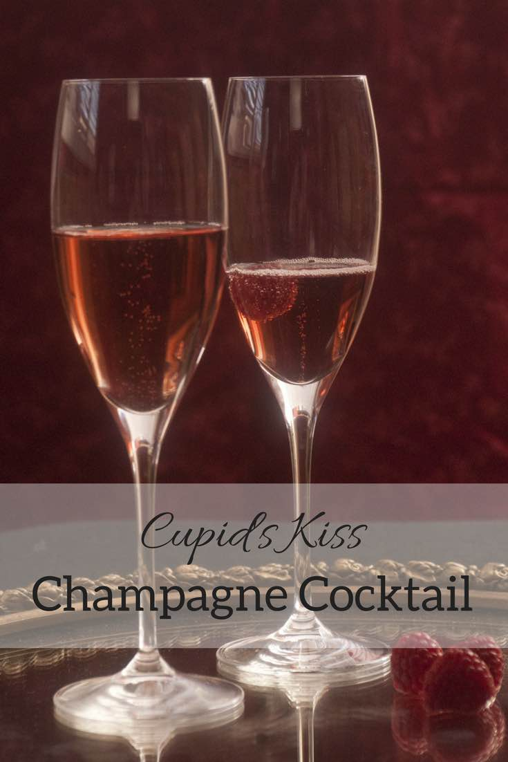Cupid's Kiss Champagne Cocktail - an easy shrub cocktail recipe featuring raspberries and balsamic