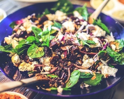 Blue Bowl with Grilled Chicken Salad