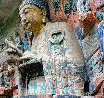 Closeup of a statue at the Dazu Grottoes