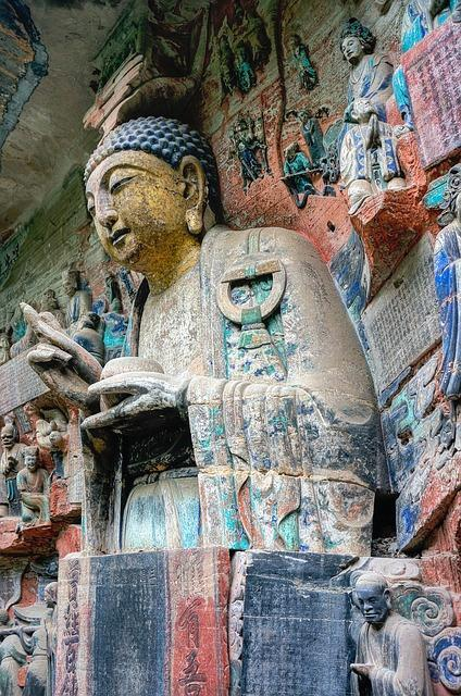 Closeup of a statue at the Dazu Grottoes
