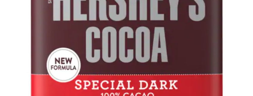 Closeup of Special Dark Hershey's Cocoa, the best cocoa powder on a budget