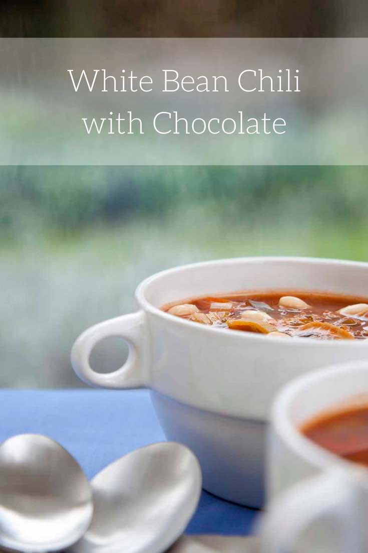 Vegetarian White Bean Chili with Chocolate (an easy and satisfying vegetarian chili made with the goodness of cocoa powder and chocolate)