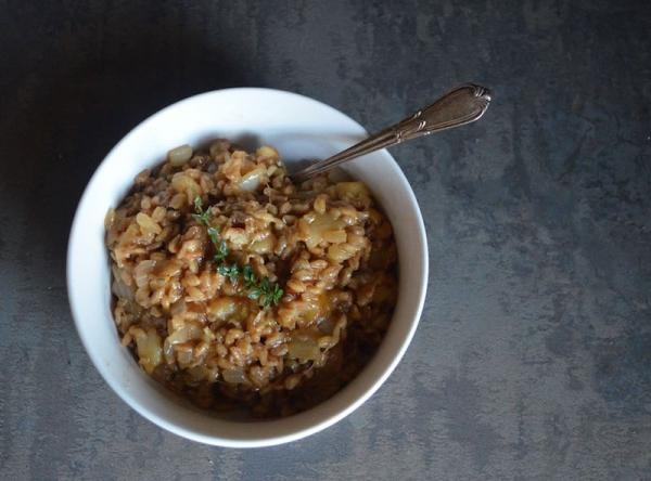 barley apple risotto