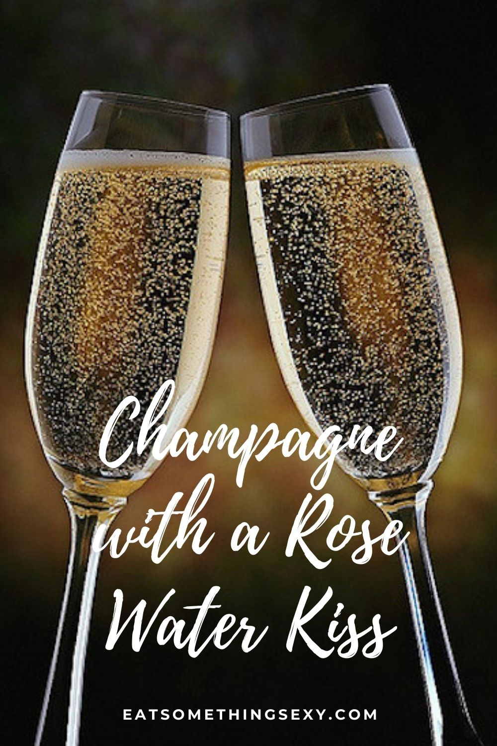 easy champagne cocktail with rose water graphic