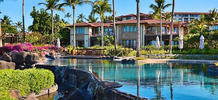 Wailea Beach Villas exterior shot with the water in the front and the villas in the background