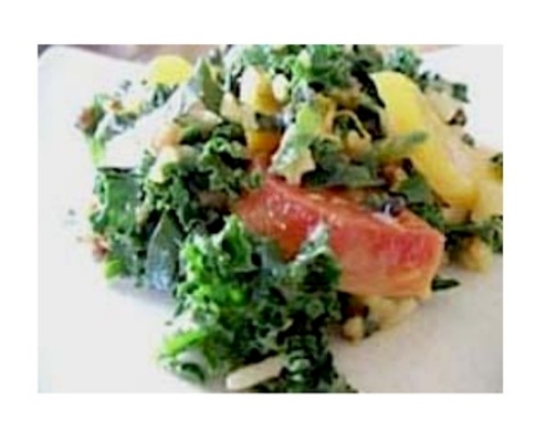Closeup of the brown rice salad recipe