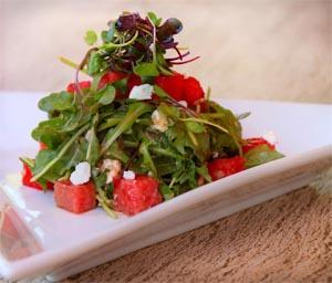 Grilled Watermelon Salad with Goat Cheese and Arugula