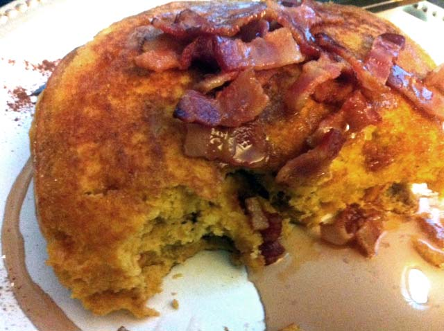 buttermilk pumpkin spice pancakes with lardons -
