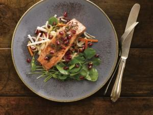 POM Cider-Glazed Smoked Salmon with Watercress Salad