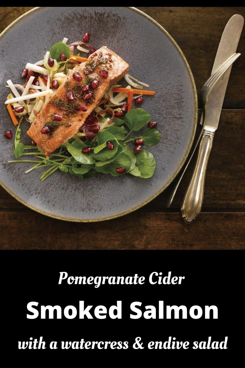 pomegranate cider-glazed smoked salmon recipe pinnable graphic