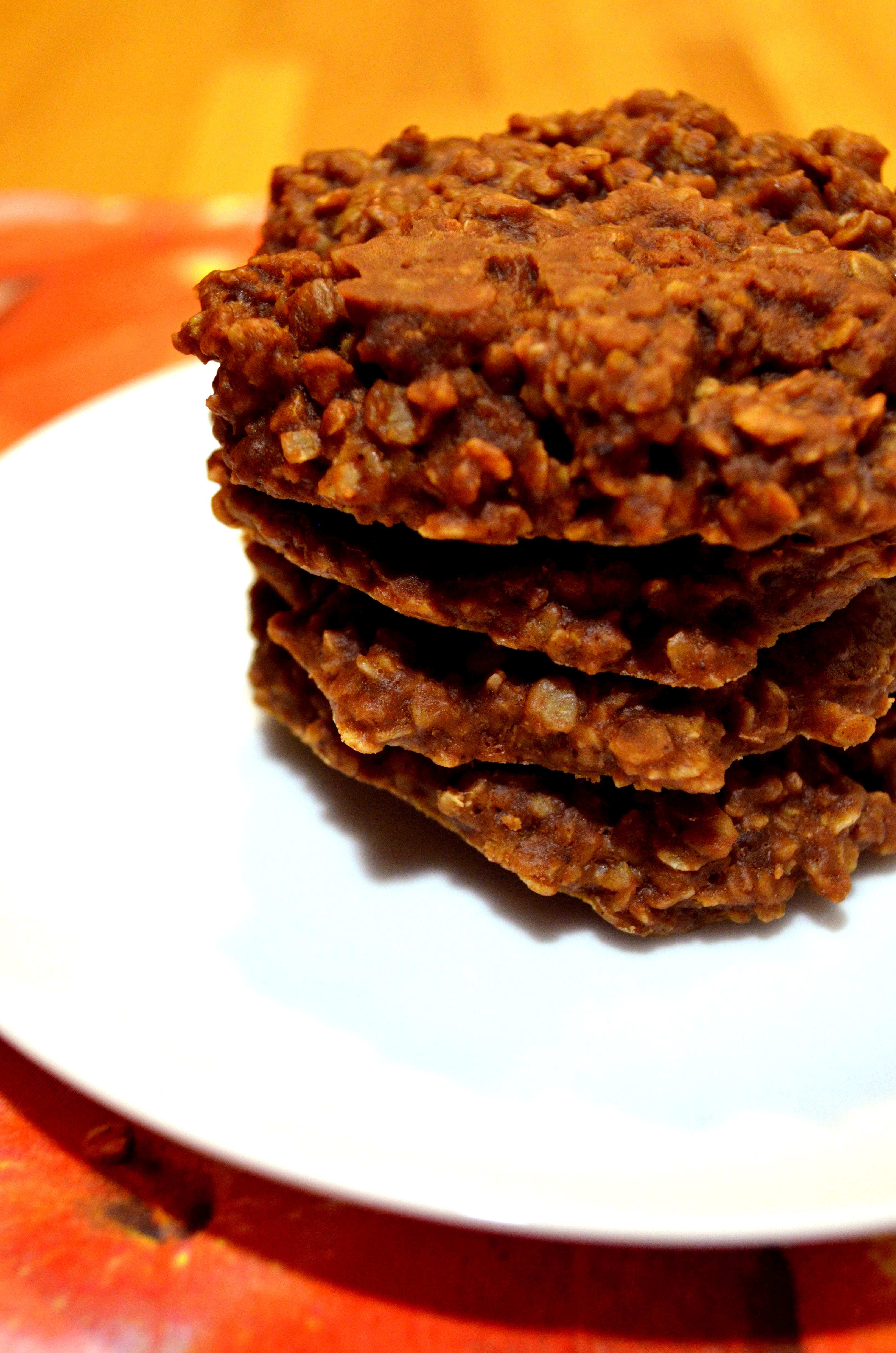 closeup of Chocolate Peanut Butter  Oatmeal No Bake Cookies