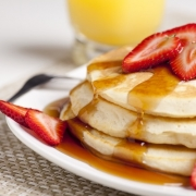 closeup of these buttermilk pancakes for two
