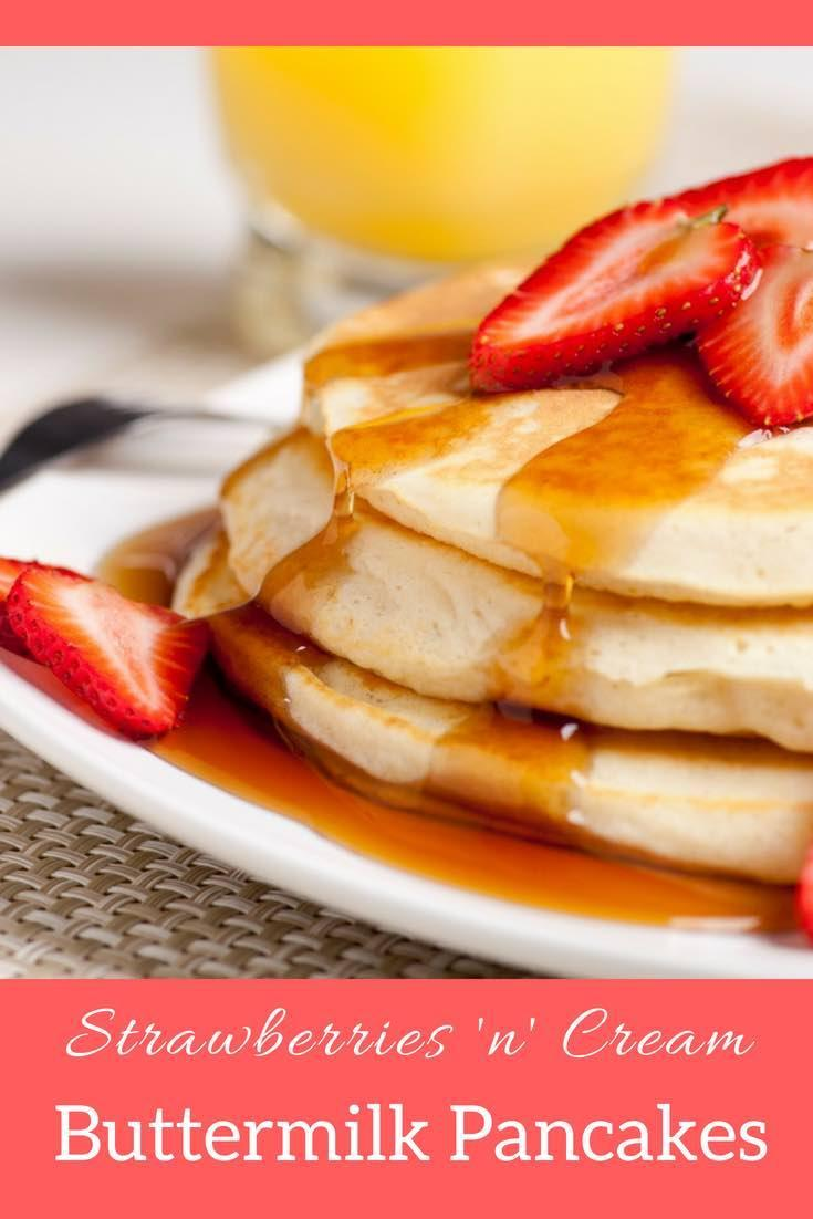 Strawberries 'n' Cream Buttermilk Pancakes Recipe
