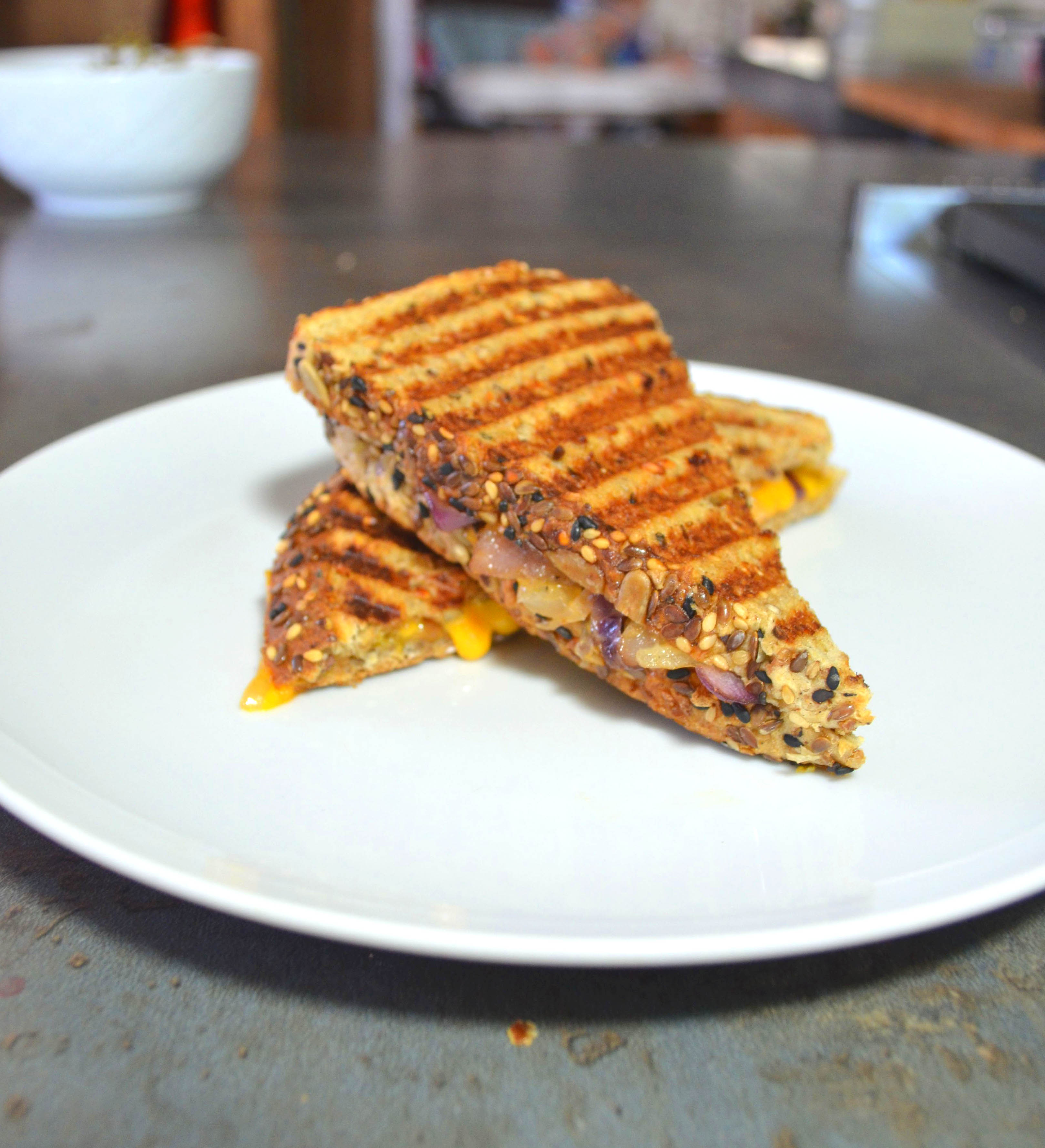 grilled cheddar cheese on whole grain bread