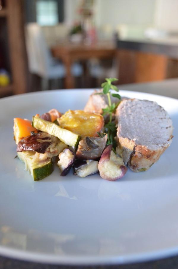 Pork Loin with Peach Ratatouille