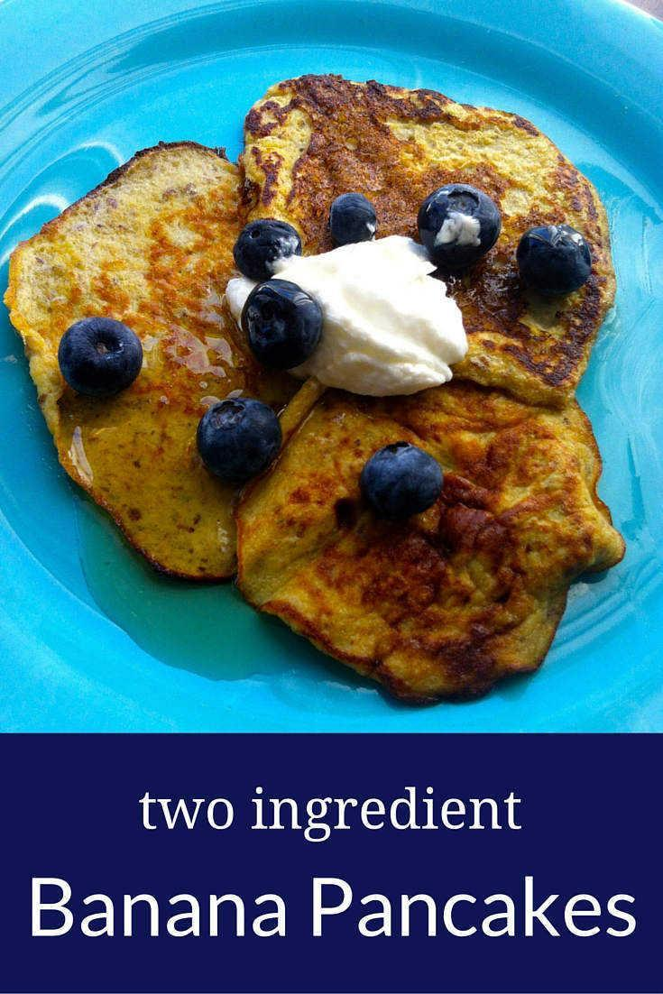 These banana pancakes contain only two ingredients (bananas and eggs). They cook up in minutes in a bit of coconut oil.