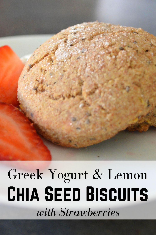 Greek Yogurt & Lemon Chia Seed Biscuits with Strawberries