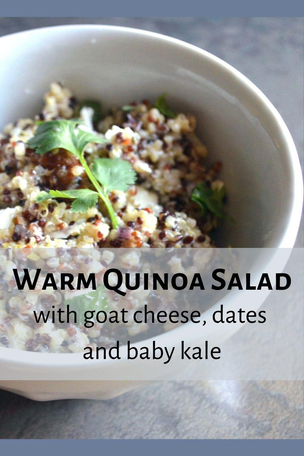 warm quinoa salad pinnable graphic