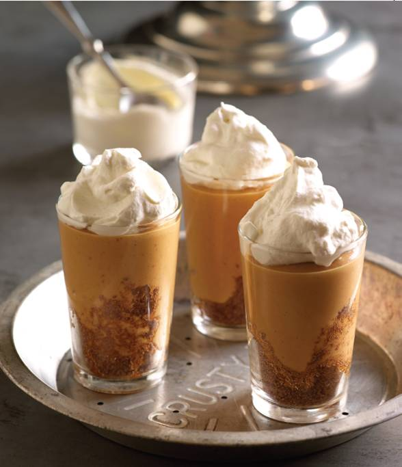 closeup of 4 glasses of the pumpkin pudding from Puddin'
