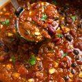 Closeup of Quinoa and Vegetable Chili with Ladle