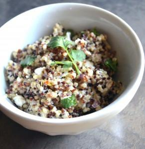 quinoa with dates, baby kale and chevre