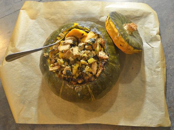 roast, stuffed kabocha squash for an elegant, vegetarian meal