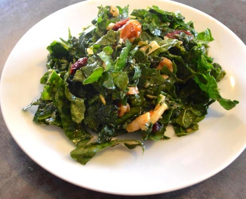 Massaged Kale Salad with Cranberries and Persimmon
