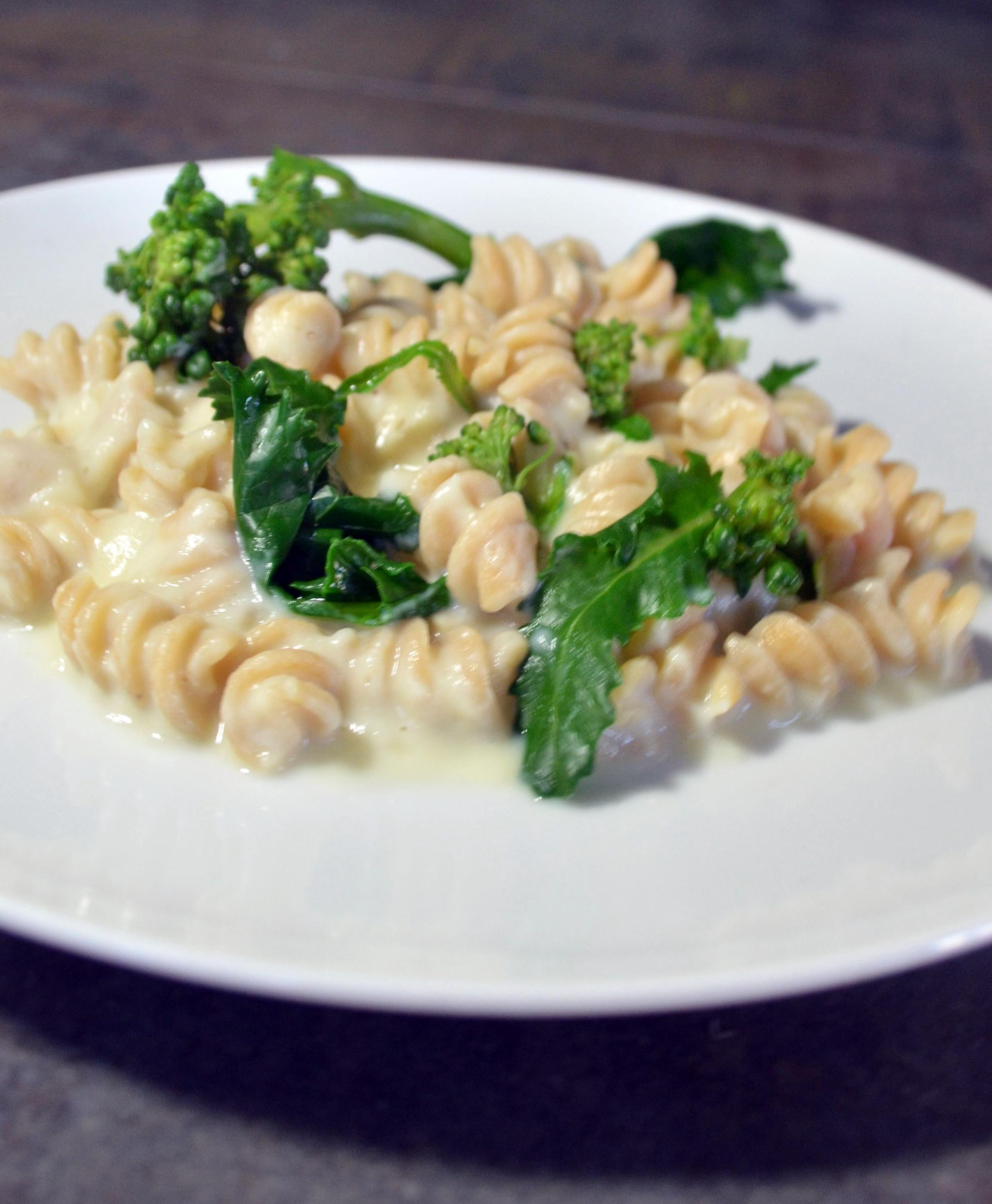 pasta with cauliflower alfredo and broccoli rabe