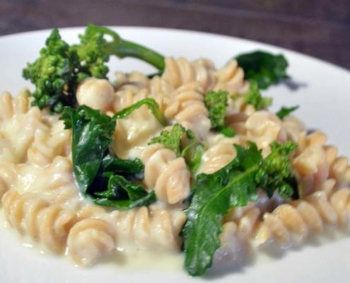 Cauliflower Alfredo with Fusilli and Broccoli Rabe