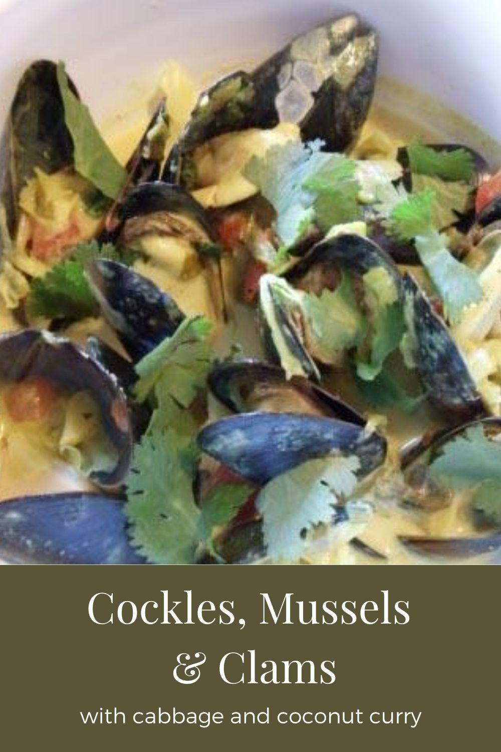 cockles, mussels and clams in coconut curry graphic