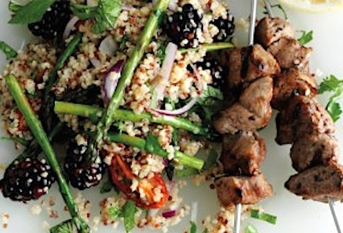 Spiced Lamb Skewers with Blackberry Quinoa Salad