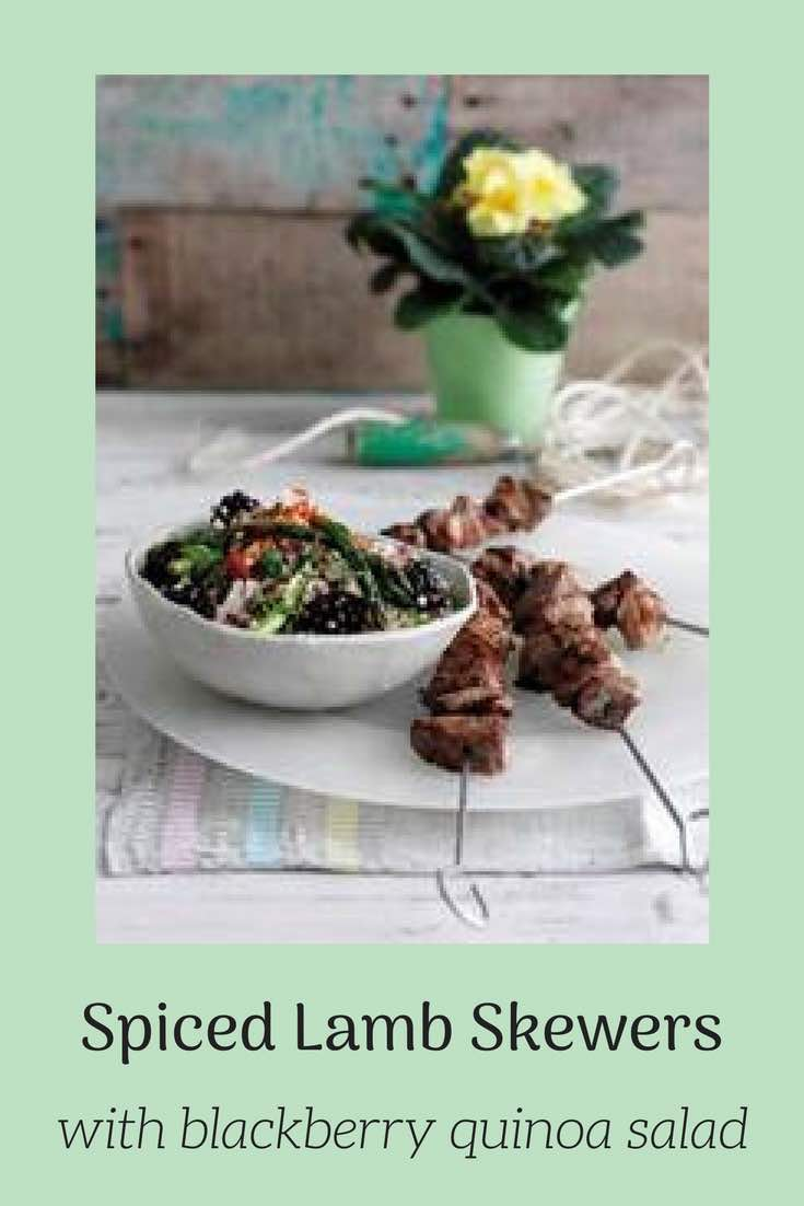 Recipe for Spiced Lamb Skewers with Blackberry Quinoa Salad