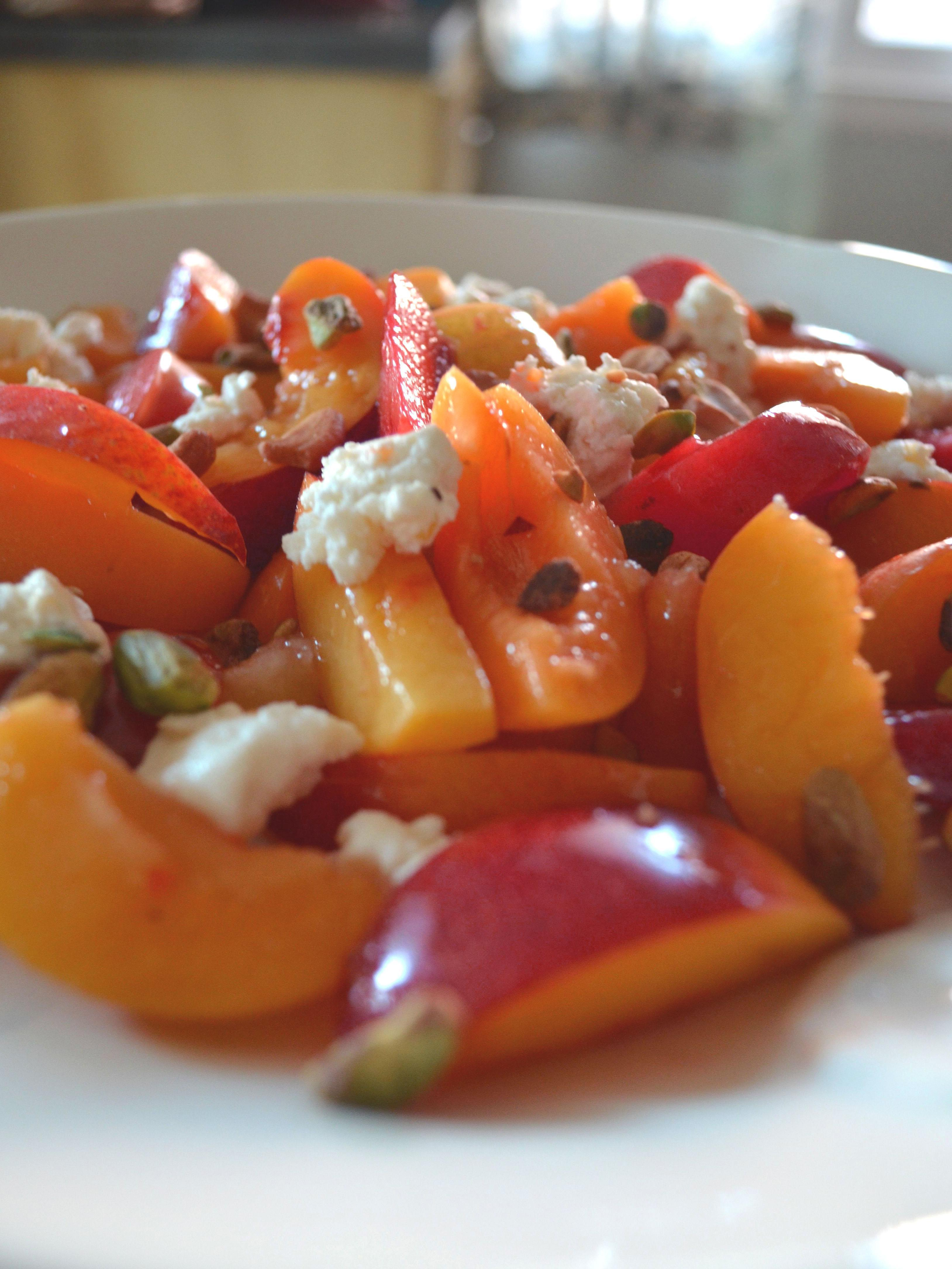 recipe for stone fruit with pistachios and chevre