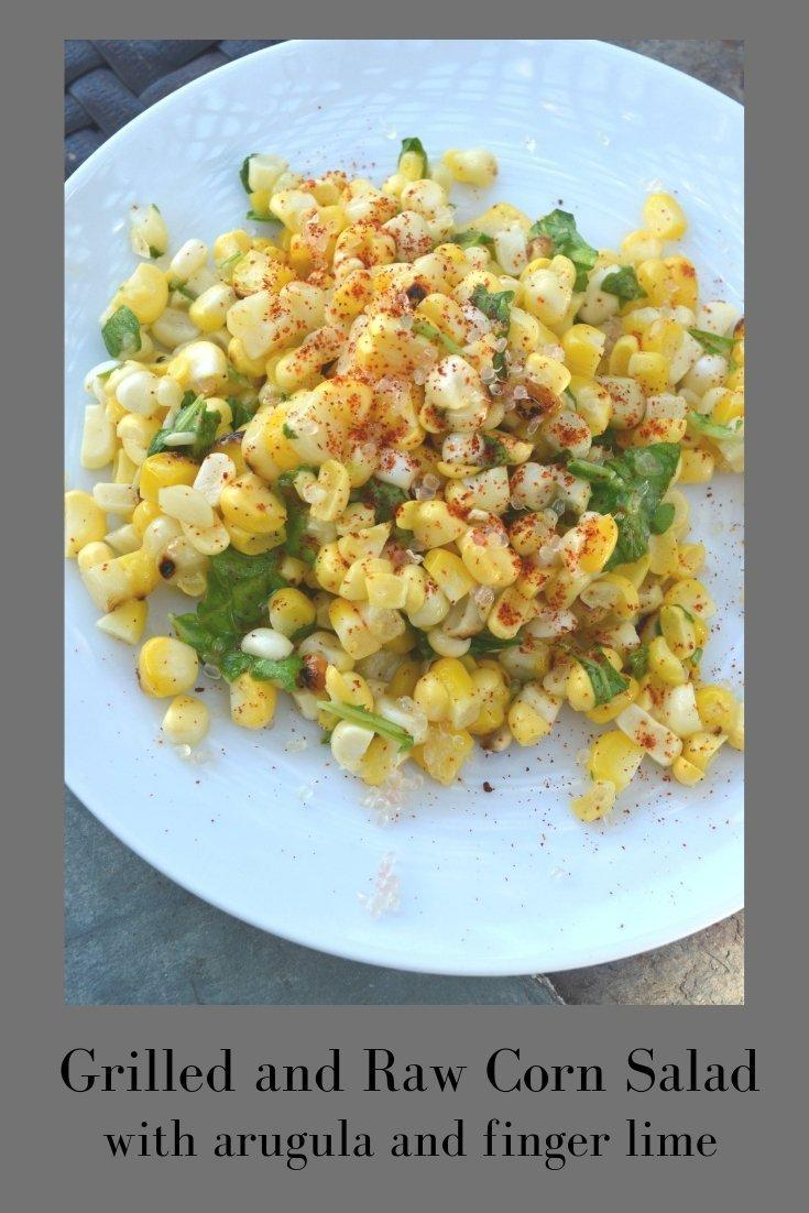 Grilled and Raw Corn Salad Pinnable Image