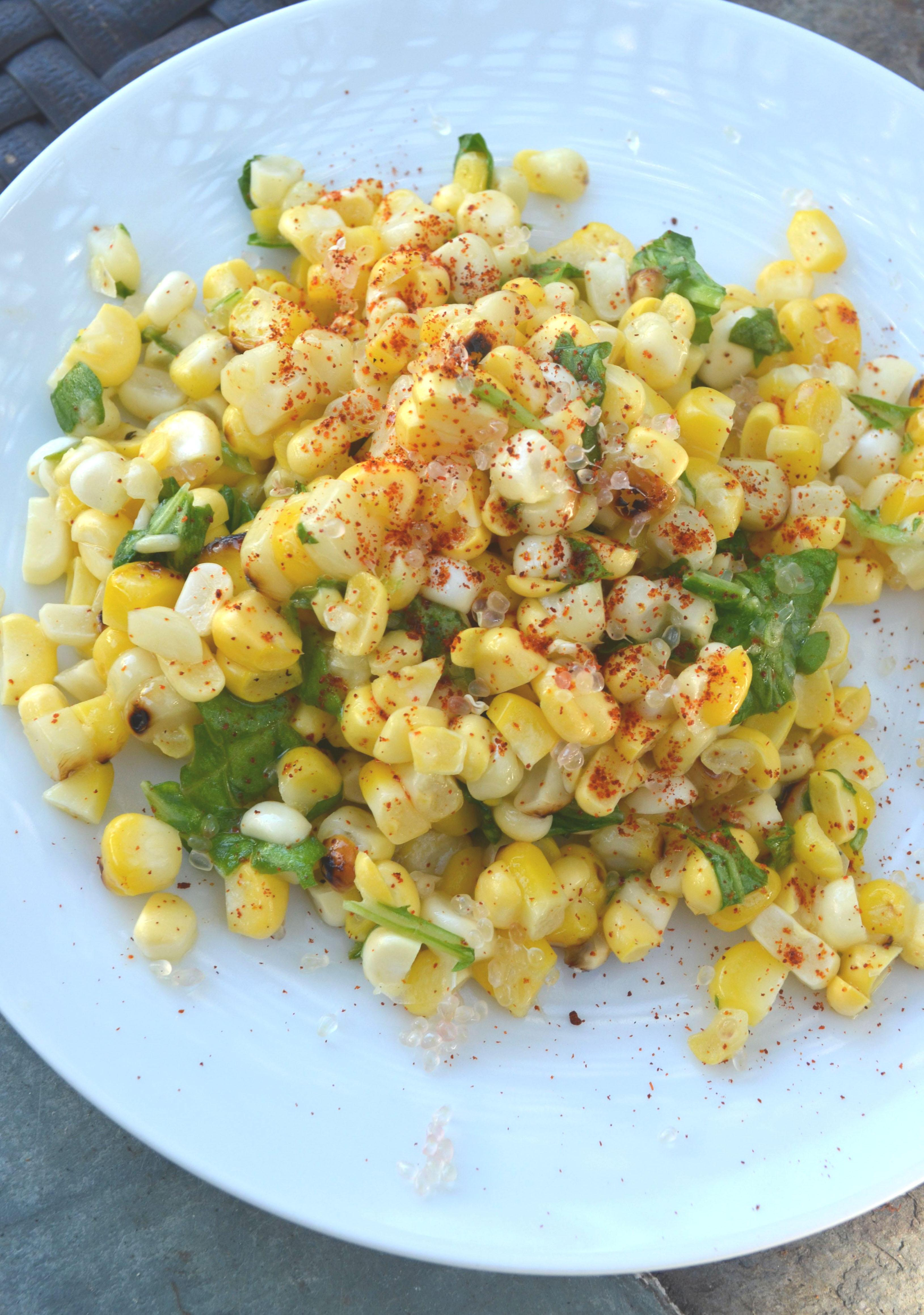 corn salad with finger lime and wild arugula