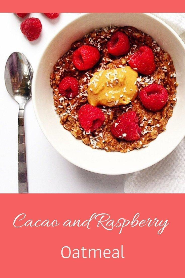 Cacao and raspberry oatmeal pinnable graphic