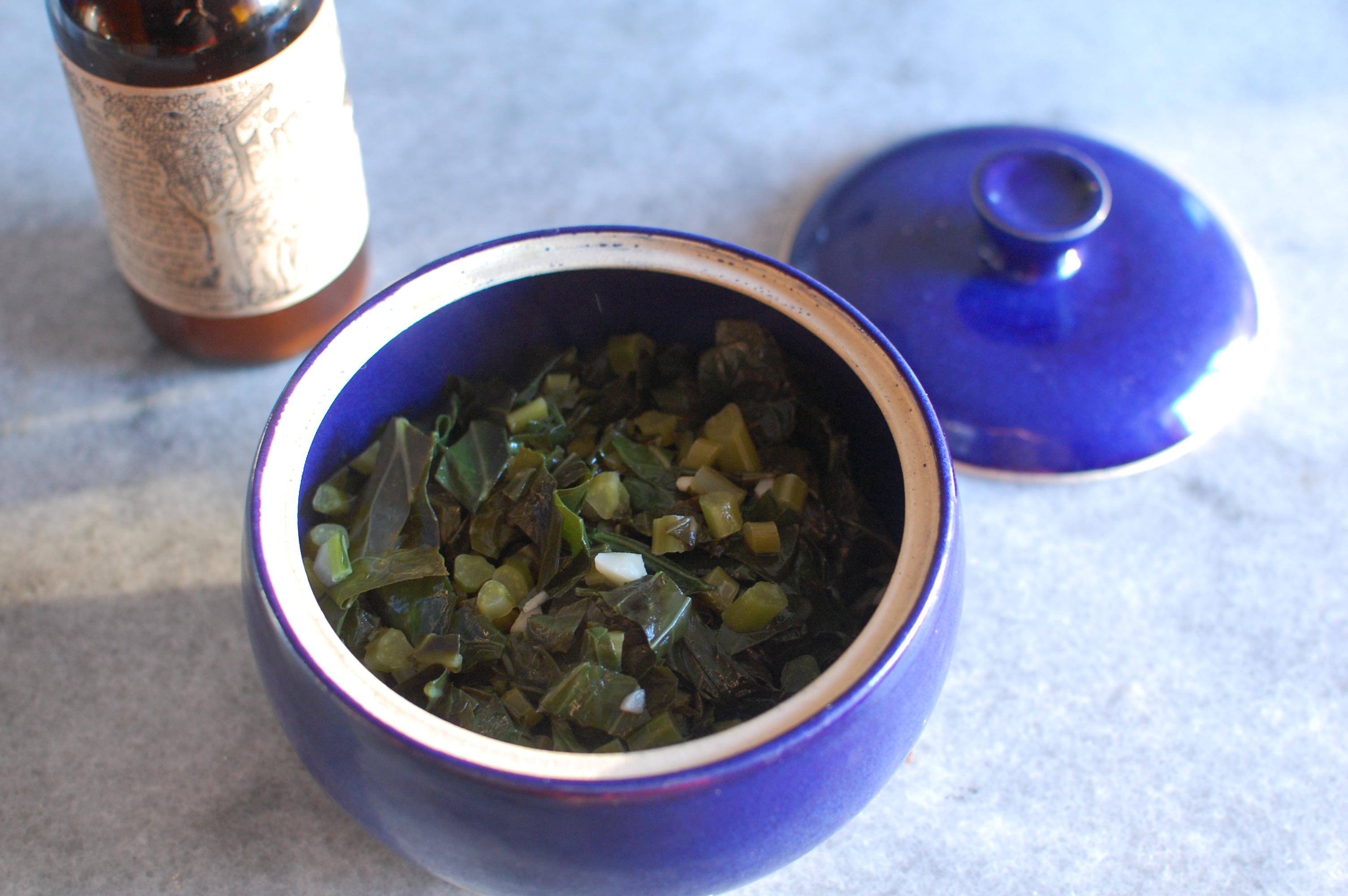 butter braised collards in fire cider