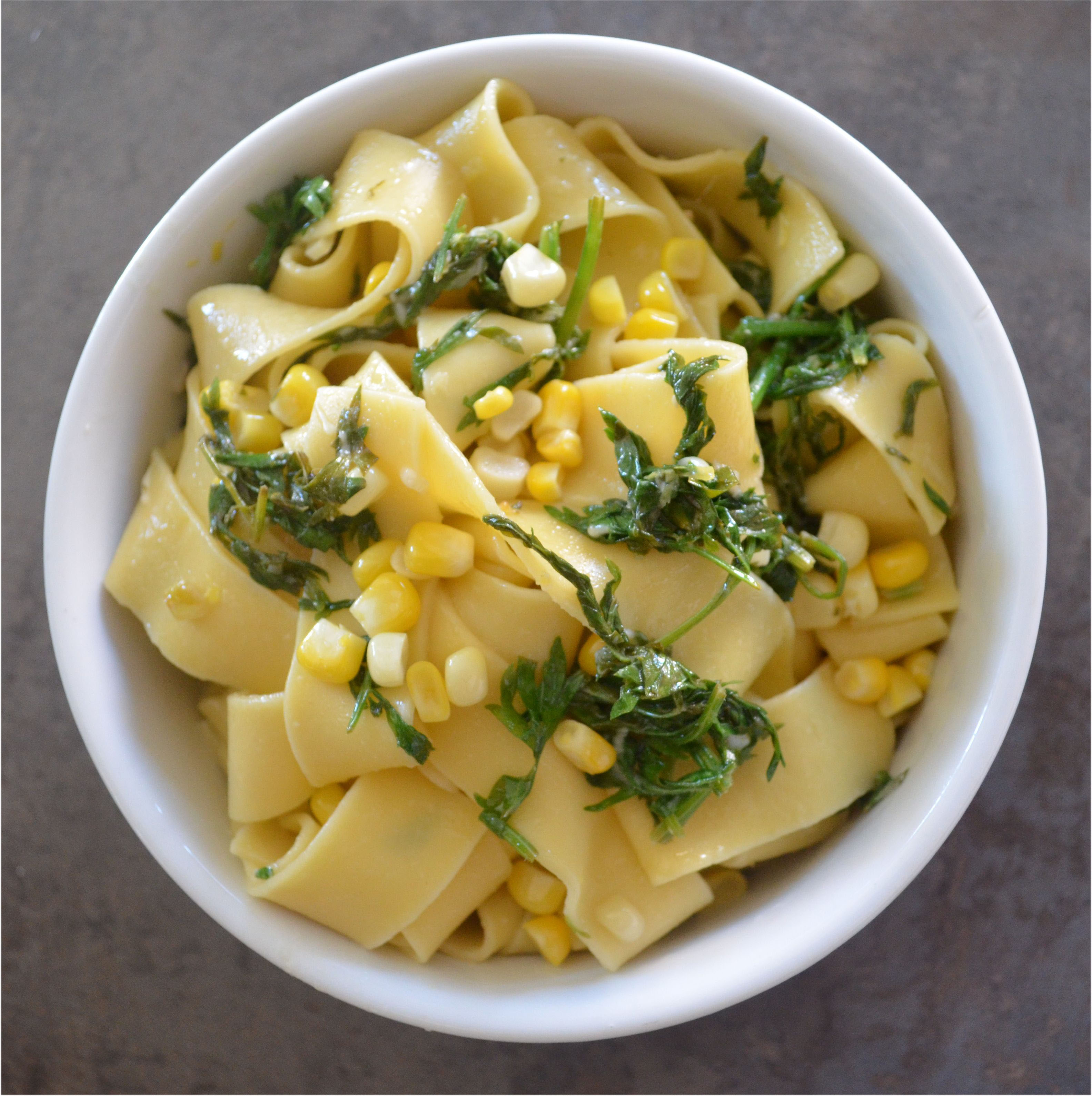 pappardelle pasta with carrot greens