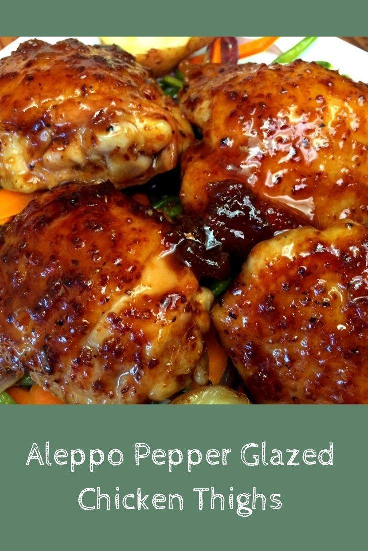 Aleppo Pepper Glazed Chicken Thigh Recipe Pinnable Graphic