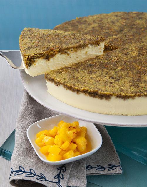 Saffron Cheesecake with Sauteed Pineapple