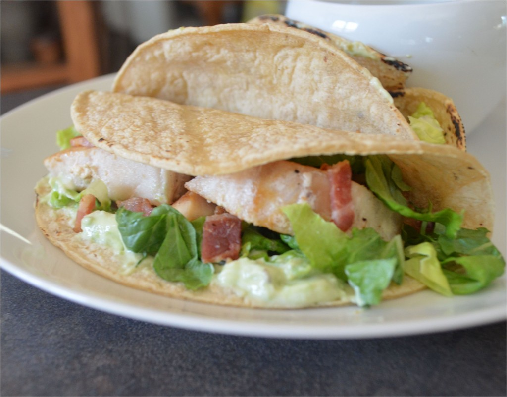 Bacon Baja Fish Tacos With Avocado Cream