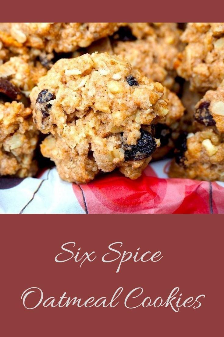 Six Spice Oatmeal Raisin Cookies Pinnable Graphic