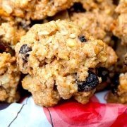 closeup of Diane's Six Spice Oatmeal Raisin Cookies