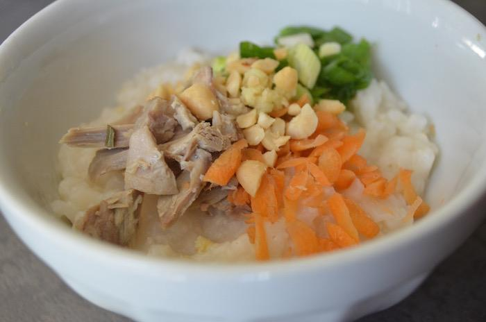 Turkey Congee made with turkey leftovers